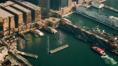 Виктория : Aerial panorama view of Hong Kong Island with port terminal. Modern financial and cultural asian city at Victoria Harbor