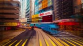 watercolor : Abstract cityscape traffic background with motion blur, art toning. Moving through bright modern city street with skyscrapers. Time lapse. Hong Kong