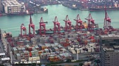 carregador : HONG KONG - NOV 1, 2017: Bird eye view of marine cargo terminal. Ships passing by seaport, stacks of containers and moving loader cranes. Work of busy sea port during daytime. Fast speed video.