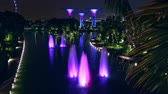 dragonfly : SINGAPORE - OCT 21, 2017: Magnificent fountains at Dragonfly Lake in front of Gardens by the Bay against Supertree Grove with tall artificial trees on background.