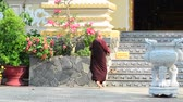 piety : Hoi An Vietnam May 23 2015: Buddhism nun in a pagoda in Vietnam Hoi An Ancient town. Stock Footage