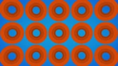 kene : Endlessly loading abstract orange rings on a blue background Stok Video