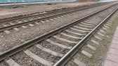 sleepers : Railway tracks at the station. Rails and sleepers. Stock Footage
