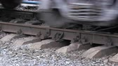 sleepers : Train wheels on the rails. Movement of freight trains.