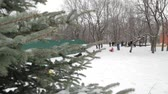Children and adults on an inflatable sled and tube. Icy snowy hill. Tubing. Russia, city of Saratov, 10 Jan. 2017.