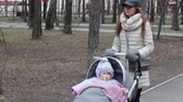 pram : Young mother with pram walking in the spring park. Love and Family Concept Stock Footage