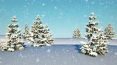Falling snow in the white landscape with trees. Winter Background. New Years 3D animation, 4K