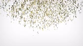 Gold confetti explosion falling down on white background. 4K