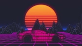 Майами : Retro futuristic seamless animation of a car with a sun in the background