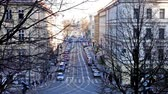 caminho : Busy intersection in the center of Prague, timelapse