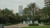 даты : Tropical feel courtyard with fountain and majestic Canary Island date palms with Jacksonville skyscrapers in background