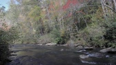 Chauga river in the South Carolina mountains flowing during autumn Stock Footage