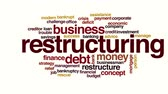 mortgage crisis : Restructuring animated word cloud. Stock Footage