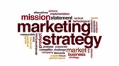 Результаты : Marketing strategy animated word cloud. Flying words.