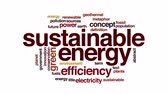 gelecek : Sustainable energy animated word cloud. Zoom out element. Stok Video
