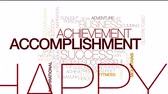 word cloud : Accomplishment animated word cloud. Kinetic typography. Stock Footage