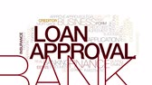 papírování : Loan approval animated word cloud. Kinetic typography.
