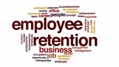 работодатель : Employee retention animated word cloud.