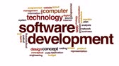 word cloud : Software development animated word cloud.