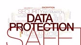 word cloud : Data protection animated word cloud. Kinetic typography. Stock Footage