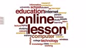 word cloud : Online lesson animated word cloud. Stock Footage