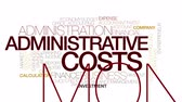 despesas : Administrative costs animated word cloud. Kinetic typography.