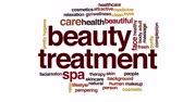 arcszín : Beauty treatment campaign animated word cloud.
