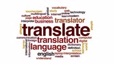 word cloud business : Translate animated word cloud. Stock Footage