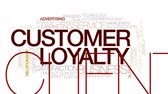 word cloud business : Customer loyalty animated word cloud. Kinetic typography. Stock Footage