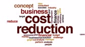price cut : Cost reduction animated word cloud.