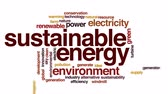 устойчивость : Sustainable energy animated word cloud, text design animation.