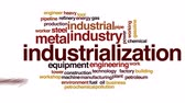 газ : Industrialization animated word cloud, text design animation.
