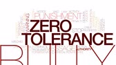 penas : Zero tolerance animated word cloud, text design animation. Kinetic typography.