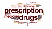 cápsulas : Prescription drugs animated word cloud, text design animation.