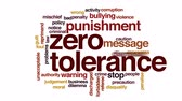 hoşgörü : Zero tolerance animated word cloud, text design animation. Stok Video