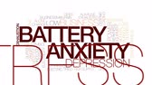 burnout : Battery anxiety animated word cloud, text design animation. Kinetic typography. Stock Footage