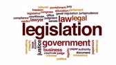 předpis : Legislation animated word cloud, text design animation.