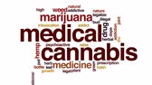 vício : Medical cannabis animated word cloud, text design animation.