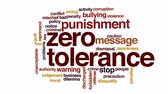 suçluluk : Zero tolerance animated word cloud, text design animation. Stok Video