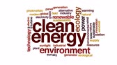 устойчивость : Clean energy animated word cloud, text design animation. Стоковые видеозаписи