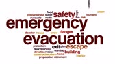 спасение : Emergency evacuation animated word cloud, text design animation.