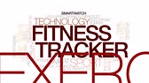 кардио : Fitness tracker animated word cloud, text design animation. Kinetic typography.