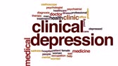 dyskusja : Clinical depression animated word cloud, text design animation. Wideo
