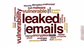 veszteség : Leaked emails animated word cloud, text design animation.