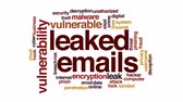 шифрование : Leaked emails animated word cloud, text design animation.