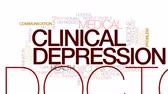 клинический : Clinical depression animated word cloud, text design animation. Kinetic typography.