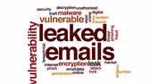по электронной почте : Leaked emails animated word cloud, text design animation.