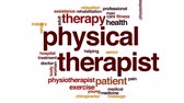 terapist : Physical therapist animated word cloud, text design animation.