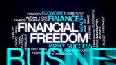 wealthy : Financial freedom animated word cloud, text design animation.
