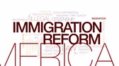 debates : Immigration reform animated word cloud, text design animation. Kinetic typography.